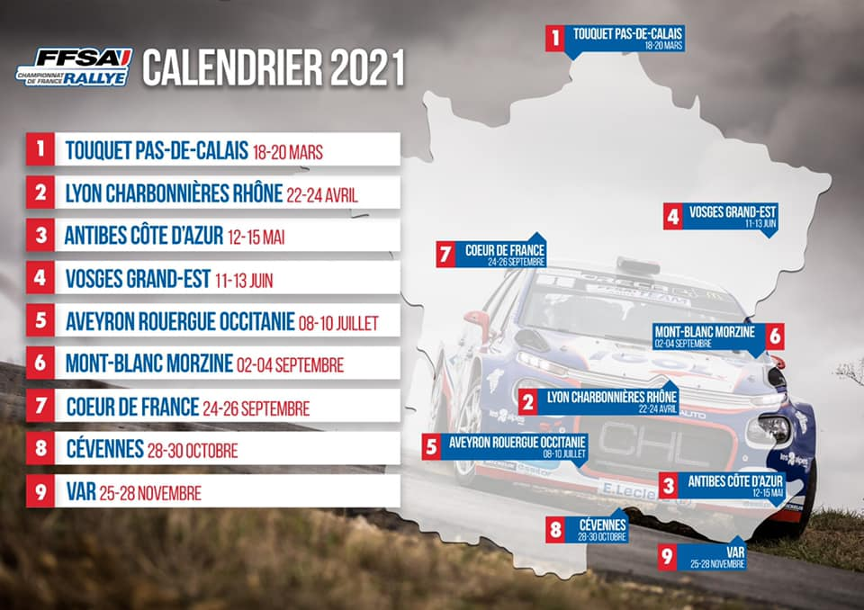 Calendrier Championnat de France des Rallyes 2021   Rallye Lyon